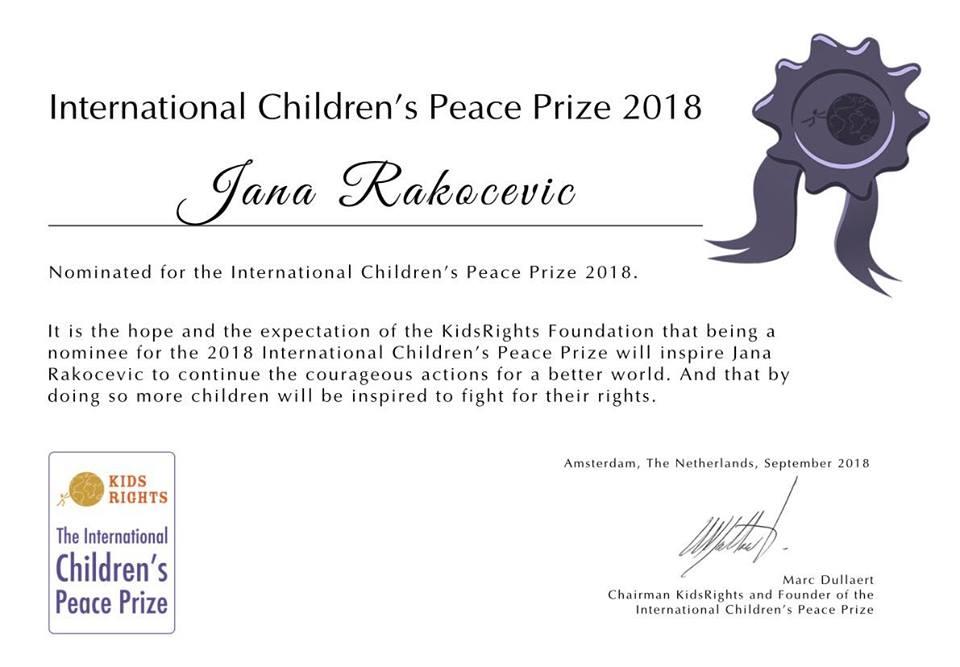 Delegatkinja Jana Rakočević nominovana za Međunarodnu dječiju nagradu za mir!